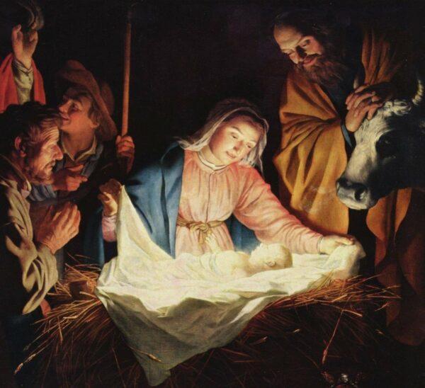 Maleri af Jesusbarnet i stalden i Bethlehem